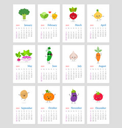 Cute monthly vegetable calendar 2019 vector