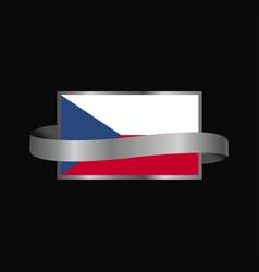 Czech republic flag ribbon banner design vector