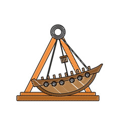 Doodle mechanical ship ride carnival game vector