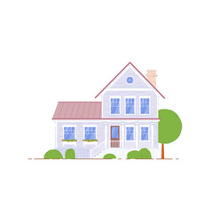 double-storey house suburban architecture icon vector image