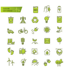ecology green technology organic thin line vector image