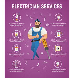 Electrician service male worker character banner vector