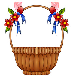 Empty wicker basket with color flowers and blue bo vector