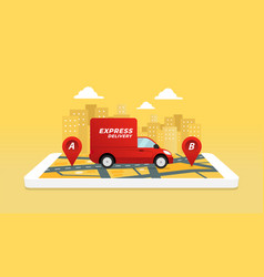 Express delivery service truck vector