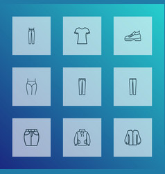 fashion icons line style set with hiking boots vector image