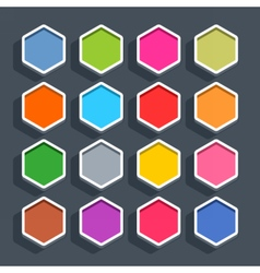Flat blank web button hexagon icon with shadow vector image