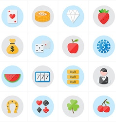 Flat Icons For Casino Icons and Game Icons vector image