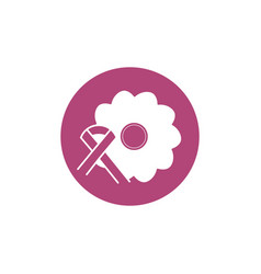 flower ribbon breast cancer awareness vector image