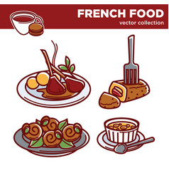 french cuisine food dishes icons for vector image