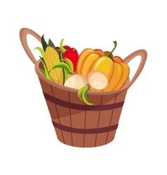 Fresh vegetables harvest set in wooden bucket vector
