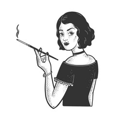Girl mouthpiece cigarette sketch vector