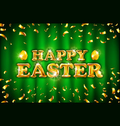 gold happy easter balloon drawn on green vector image vector image