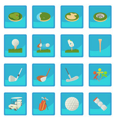 Golf items icon blue app vector