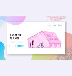 Green eco city futuristic technology website vector