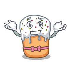 grinning easter cake character cartoon vector image