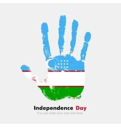 Handprint with the Uzbekistan flag in grunge style vector