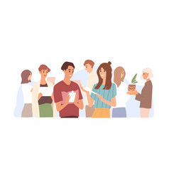 Happy people exchanging and sharing extra stuff vector