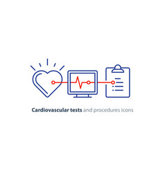 heart test line icon electrocardiogram monitor vector image