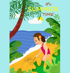 its summertime girl drawing on sand sun and ship vector image