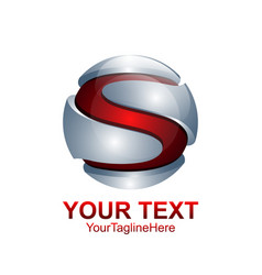 letter s logo design template colored red silver vector image