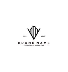 Letter v and building logo design vector