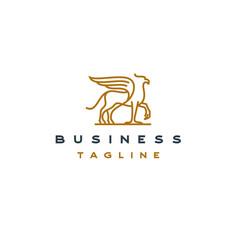 line art hippogriff logo design template vector image