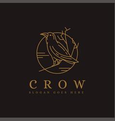 lineart raven crow bird logo icon vector image