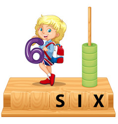 Math abacus number six vector
