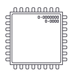 microchip closeup icon in monochrome silhouette vector image