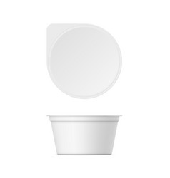 mockup of plastic yogurt container with lid vector image