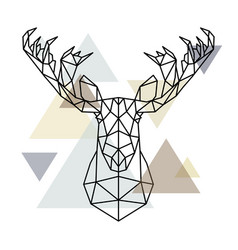 Moose head geometric lines silhouette isolated on vector