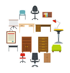 office furniture icons set in flat style vector image