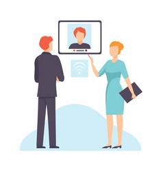 online business meeting businesspeople talking vector image