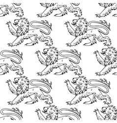 outline heraldic lions seamless pattern vector image