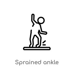Outline sprained ankle icon isolated black simple vector