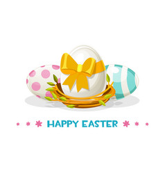painted eggs for happy easter in nest vector image