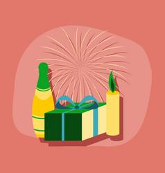 Paper sticker on stylish background fireworks vector