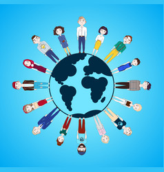 people standing around globe isolated on blue vector image