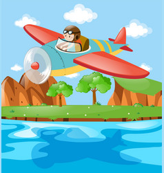 Pilot flying plane over the river vector