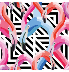 pink blue flamingo head seamless pattern vector image