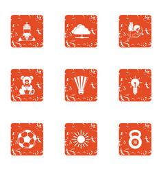 program training icons set grunge style vector image