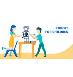Robots for children flat banner template vector