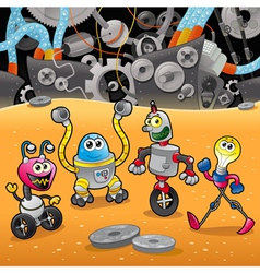 Robots with background vector
