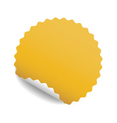 round yellow sticker with curled corner and shadow vector image