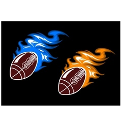 Rugby balls with colored fire flames vector image