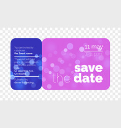 save the date wedding invitation ticket vector image