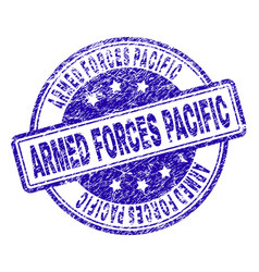 Scratched textured armed forces pacific stamp seal vector