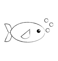 Sea fish swiming icon vector