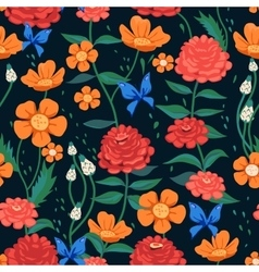 Seamless Flower Pattern with Butterflies vector image