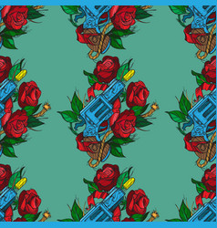 Seamless pattern a gun and roses on olive vector